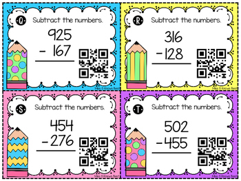 QR Codes: Subtraction with Regrouping 2 and 3 digit numbers