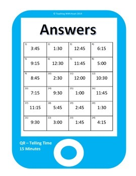 QR Codes Telling Time - 15 Minute Intervals