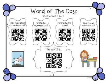 QR Codes: Word of the Day {Freebie}