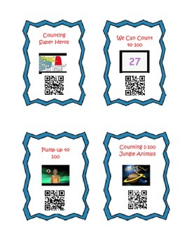 QR Code Cards for 10 Songs- Counting to 100- Kindergarten Common Core