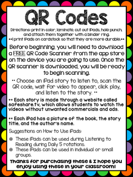 QR Codes for Author Jane O'Connor - Listening Center