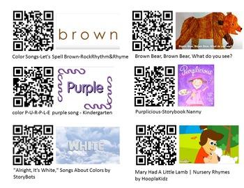 QR Codes for Math-colors & Nursery Rhymes