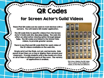 QR Codes for Screen Actor's Guild Videos