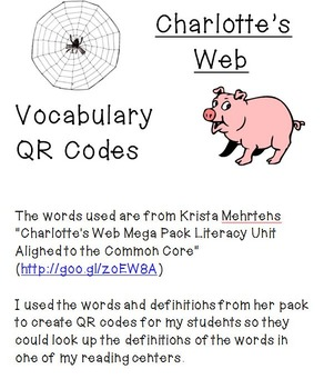 "QR Codes for Vocabulary Words from ""Charlotte's Web"""