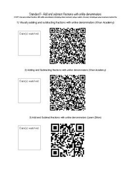 QR Codes for independent math work- Operations with fractions