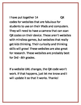 QR Codes - Websites for Thinking - Not Game-Based!