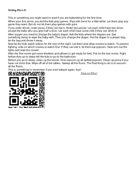 QR Codes with Six +1 Rubric Activity