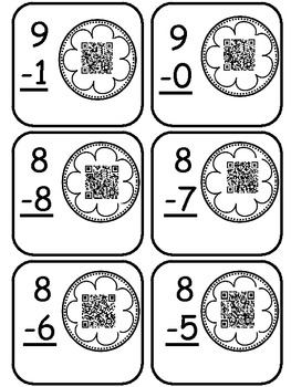 QR Crazy-Quick Response Code Subtraction from 10 Common Core Aligned