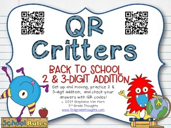 QR Critters: 2 & 3-Digit Addition {Back to School}