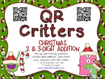 QR Critters: 2 & 3-Digit Addition {Christmas}