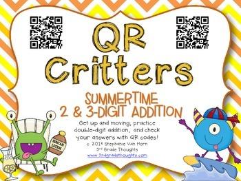 QR Critters: 2 & 3-Digit Addition {Summertime}