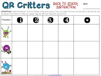 QR Critters: 2 & 3-Digit Subtraction {Back to School}