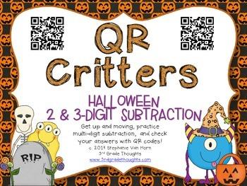 QR Critters: 2 & 3-Digit Subtraction {Halloween}