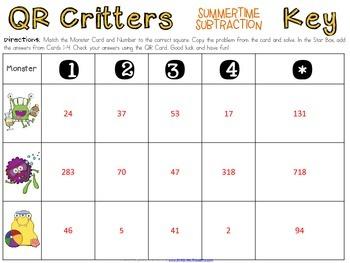 QR Critters: 2 & 3-Digit Subtraction {Summertime}