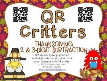 QR Critters: 2 & 3-Digit Subtraction {Thanksgiving}