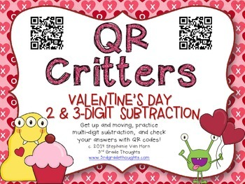 QR Critters: 2 & 3-Digit Subtraction {Valentine's Day}