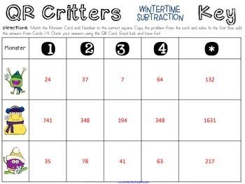 QR Critters: 2 & 3-Digit Subtraction {Wintertime}