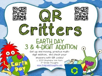 QR Critters: 3 & 4-Digit Addition {Earth Day}