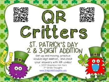 QR Critters: 2 & 3-Digit Addition {St. Patrick's Day}