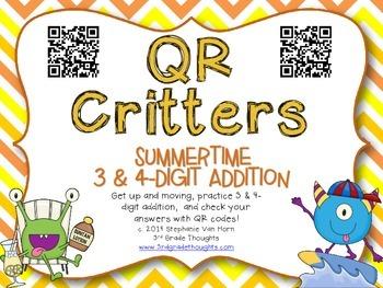 QR Critters: 3 & 4-Digit Addition {Summertime}