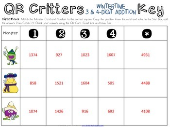 QR Critters: 3 & 4-Digit Addition {Wintertime}