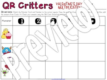 QR Critters: Multiplication {Valentine's Day}