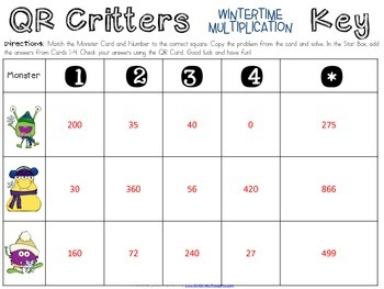 QR Critters: Multiplication {Wintertime}