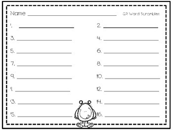 QR Dolch word scrambles- set 3