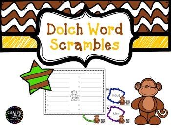 QR Dolch word scrambles- set 4