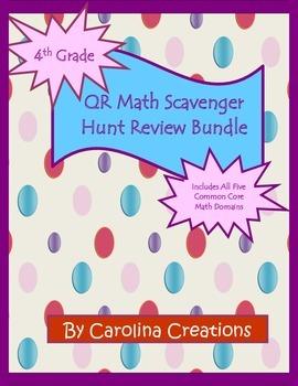 QR End of Year Test Review Scavenger Hunts Bundle - Fourth Grade  Math