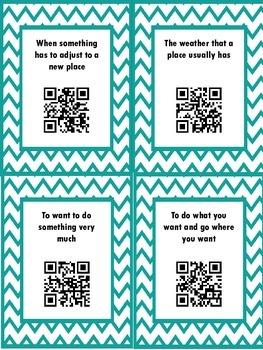QR Hunt: 2nd Grade Reading Wonders Vocabulary Unit 2 Week 1