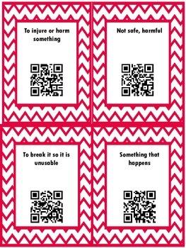 QR Hunt: 2nd Grade Reading Wonders Vocabulary Unit 3 Week 4
