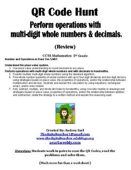 QR Hunt: Operations with Decimals