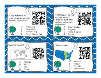 QR Map Skill Task Card Set (Intermediate Grades)