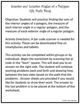 QR Math Pong: Measures of Interior and Exterior Angles of a Polygon