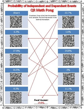 QR Math Pong: Probability of Independent and Dependent Events