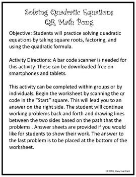 QR Math Pong: Solving Quadratic Equations