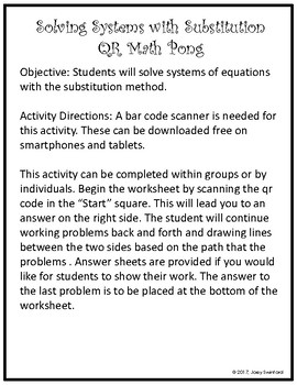 QR Math Pong: Solving Systems of Equations with Substitution