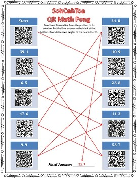 QR Math Pong: Using Right Triangle Trigonometry to Find Missing Parts