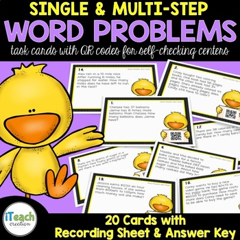 QR Math Word Problem Single and Multi-step Task Cards SOL Review