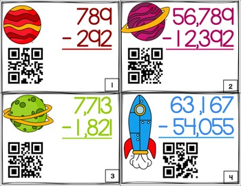 Addition and Subtraction Task Cards QR Multi-Digit