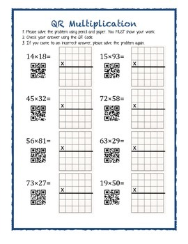 QR Codes Multiplication Worksheet