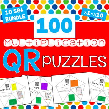 QR Multiplication Puzzles BUNDLE - All 10 Sets - 100 puzzles