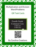 QR Multiplication and Division Word Problem Task Cards - Fourth Grade Math