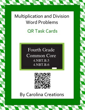QR Multiplication and Division Word Problem Task Cards - F