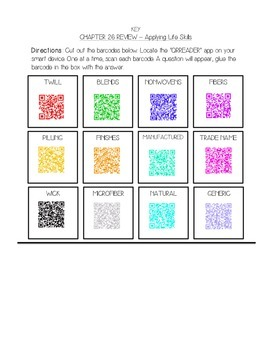 QR Reader Clothing Terms Assignment