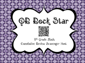 QR Rock Star Scavenger Hunt Activity for 8th Grade Math