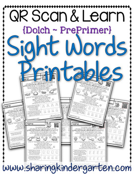 QR Scan & Learn~Sight Word Printables~ Dolch PrePrimer