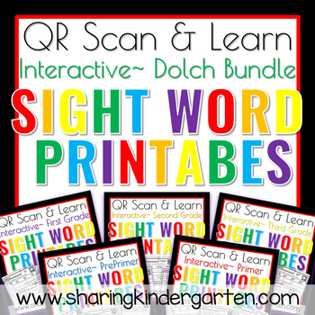 QR Scan & Learn~Sight Word Printables~ Dolch Bundle