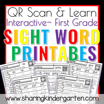 QR Scan & Learn~Sight Word Printables~ Dolch First Grade